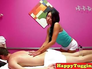 Oriental masseuse threesome caught on spycam