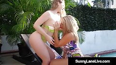 Lesbian Blondes Sunny Lane & Vicky Vette Fuck Outdoors!
