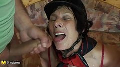 Dirty minded mature mother fucking two young guys at once