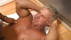 Young man eats daddy's cum on the stairs.