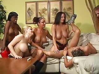 Wild busty MILFs take turns fucking tight ass on guy