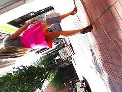 Blonde Babe Upskirt Pink Dress