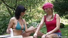 His busty mom and teen fucking outdoors