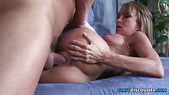Milf with big boobs rides