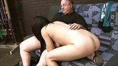 brunette mild spanking then bj