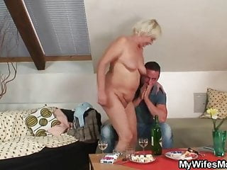 He finds his GF's mom naked and fucks her