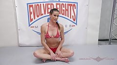 Sofie Marie in mixed wrestling dominating a guy