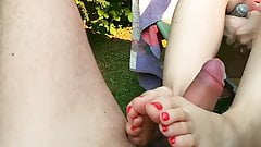 MILF giving footjob with red nails big young cock cum HD