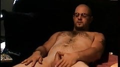 Amateur bear with glasses masturbating