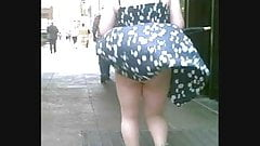 Blonde Gets Her Dress Totally Blown Up!