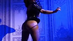 Hot slut dancing in leather high heeled boots and dress