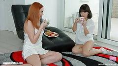 Sensual lesbians Eva Berger and Liza Kolt in scene by