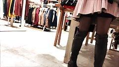 Girl in Stockings Bari Italy Auchan Shopping Center