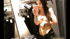 Sofabeautiful fuck herself in the changing room with a dildo