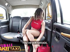 Female Fake Taxi Tattooed babes squirt and masturbate