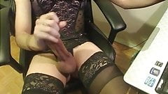 Nice cum from a hard sissy clit