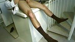 Cute Businessman Cums on His Sweaty Black Socks After Work