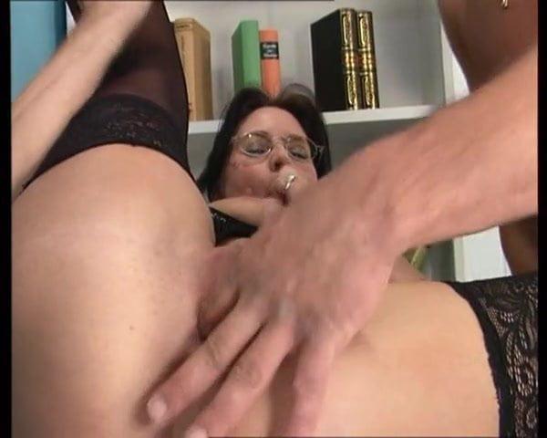 Big boobs lingerie in glasses