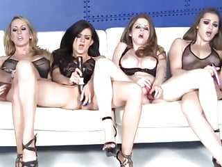 Four Gorgeous Pornstars Masturbate Together