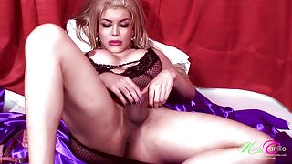Stroking and measuring her tranny cock