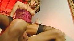 Vintage Italian MILF makes cum her boy