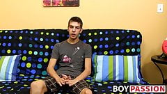 Young skinny gay dude having fun with his throbbing penis