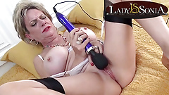 Busty mature Lady Sonia loves her hitachi vibrator