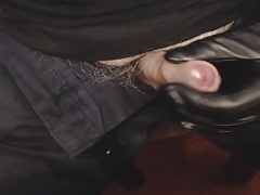 Leather gloved handjob 11