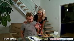 Blonde babe in glasses Emma Starr gives titjob