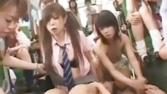 Crazy asian schoolgirls in Bus.F70