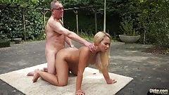 old man fucks blonde slut