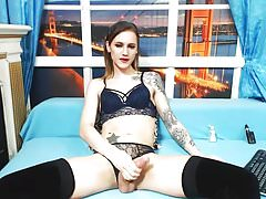 tattooed Shemale beauty live show