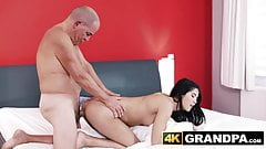 Young beautiful babes pussy plowed by older gentleman