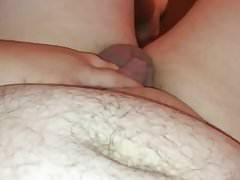 fat guy plays with his huge fat pad pussy and tiny dick