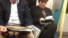 Candid mature Shoeplay Feet Dangling Flats on Train