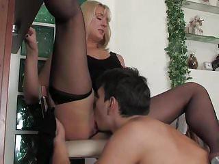 Hot blonde seduces a guy