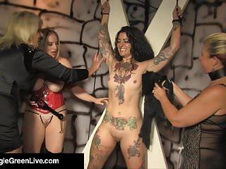 Mistress Maggie Green & 2 GFs Whip & Pleasure Tattooed Slave