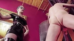Domme Canes Naked male slave And Exposes its Jiggling Cock