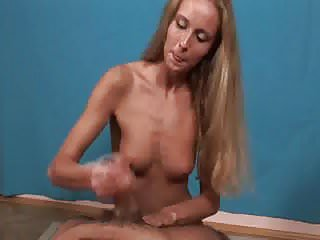 Friendly blond give a hand job