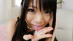 Japanese amateur cock teaser, Rinako gives a POV blowjob, un