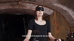 Blindfolded sub slave interviewed