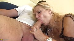Busty granny takes young fat cock