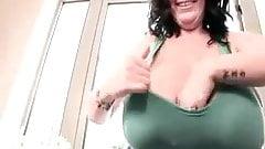 Huge tits blue top