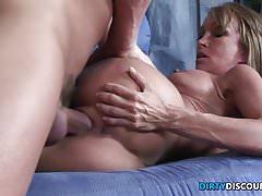 Milf with big boobs rides