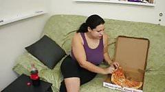 Brunette Feedee Stuffs Her Belly then Strips