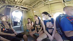 Funny russian skydiving with naked girls.