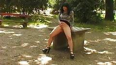 brunette teen piss on table in park