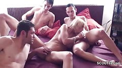German Big Tit MILF in Privat Amteur Gangbang with Young Boy