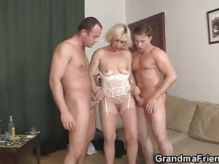 Hot 3some fucking with old bitch