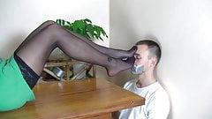 Black pantyhose sniff